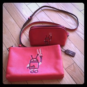 Coach x Keith Haring bag and cosmetic case